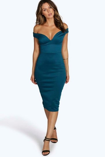 Teal Sweetheart Off Shoulder Bodycon Midi Dress