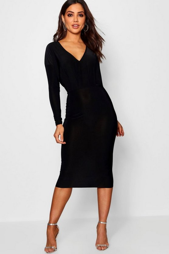 Slinky Plunge Neck Midi Bodycon Dress
