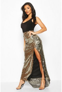 Gold Boutique  Split Sequin Maxi Skirt