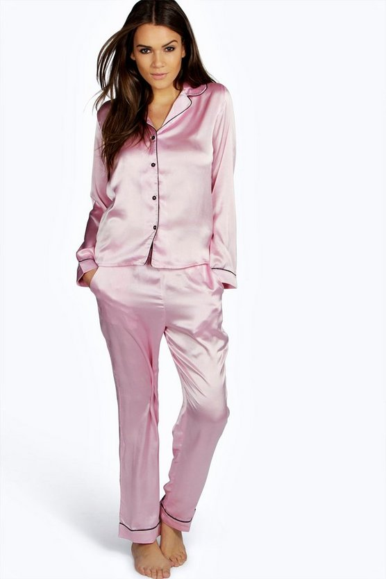 Contrast Piping Button Down Satin Set