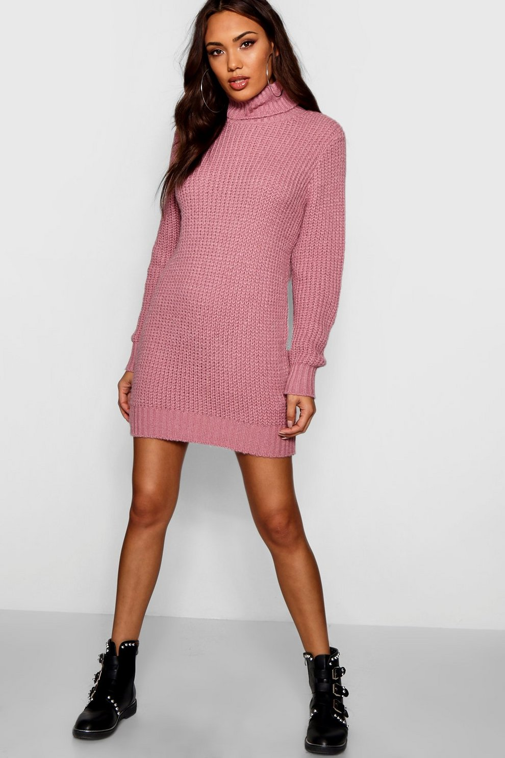 Robe pull col roulé en maille douce   Boohoo 59cdd708fc40