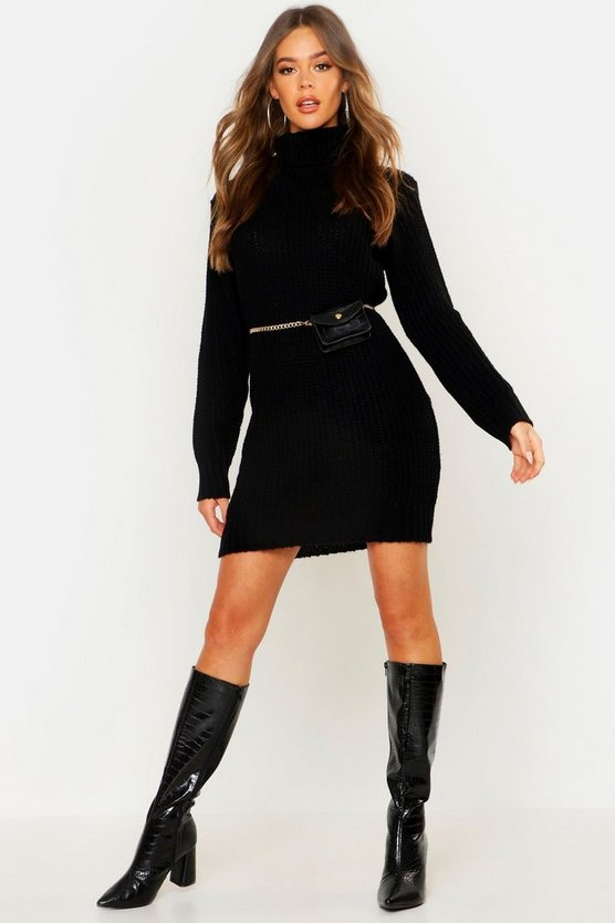 Womens Black Roll Neck Soft Knit Sweater Dress