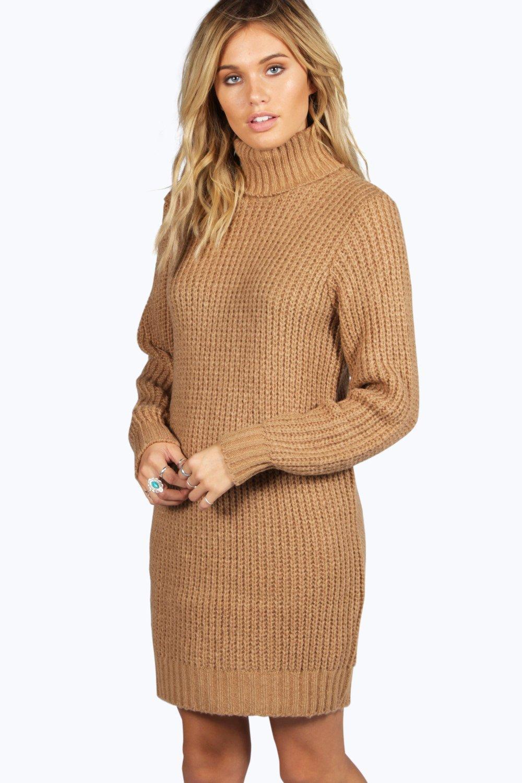 Roll Knit Neck Sweater Soft DressBoohoo wPOkuTXZi