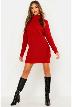 Womens Red Roll Neck Soft Knit Sweater Dress