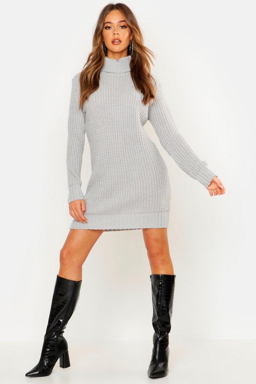 vuelto plateado suave con Vestido de suéter cuello estilo punto 8cxZyq0wSB