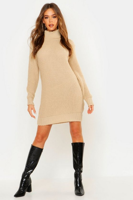 Roll Neck Soft Knit Jumper Dress
