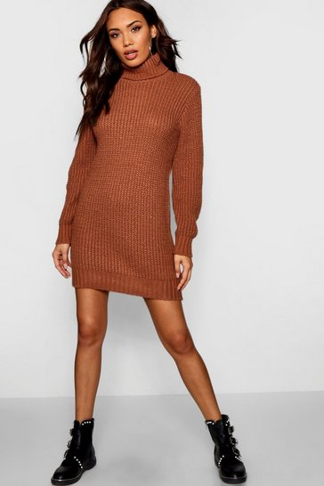 Womens Tobacco Roll Neck Soft Knit Jumper Dress