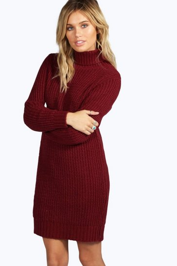 Womens Wine Roll Neck Soft Knit Jumper Dress