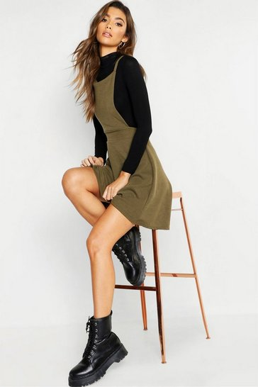 Womens Khaki Cross Back Pinafore Dress