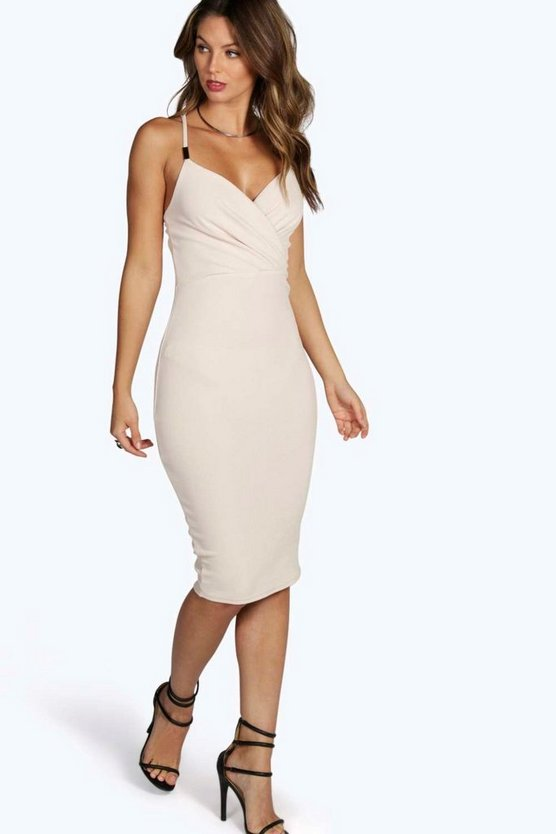 Trim Wrap Front Midi Dress