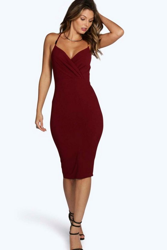Womens Trim Wrap Front Midi Dress