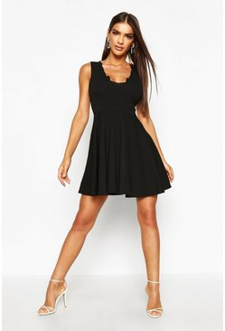 Womens Black Scallop Plunge Skater Dress