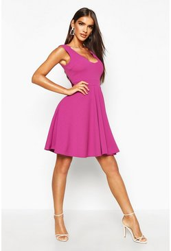 Jewel purple Scallop Plunge Skater Dress