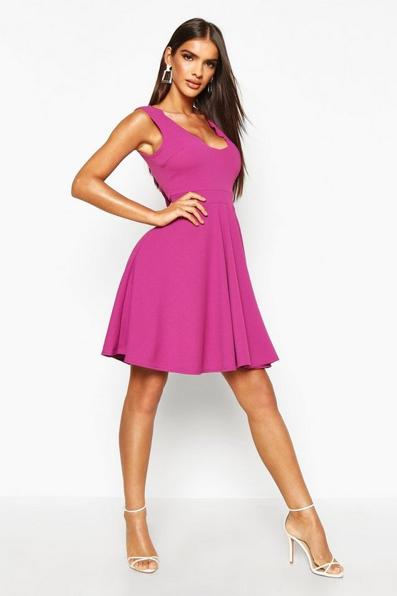 Womens Jewel purple Scallop Plunge Skater Dress