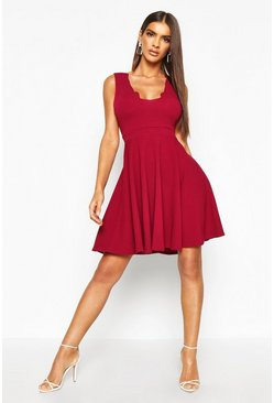 Womens Raspberry Scallop Plunge Skater Dress
