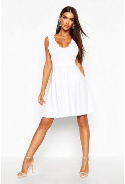 White Scallop Plunge Skater Dress