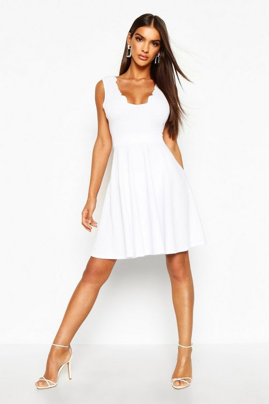 Womens White Scallop Plunge Skater Dress