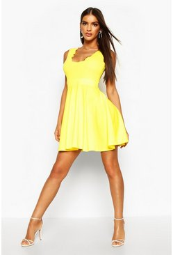 Womens Yellow Scallop Plunge Skater Dress