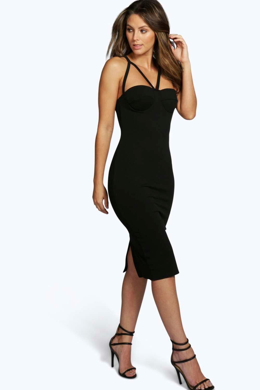 boohoo liana robe moulante midi moul e plusieurs bretelles pour femme ebay. Black Bedroom Furniture Sets. Home Design Ideas