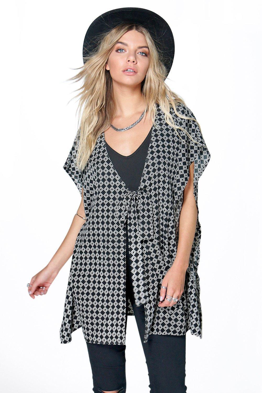 bb9c072865da02 Womens Multi Ina Mono Print Woven Tie Front Kimono Top. Hover to zoom