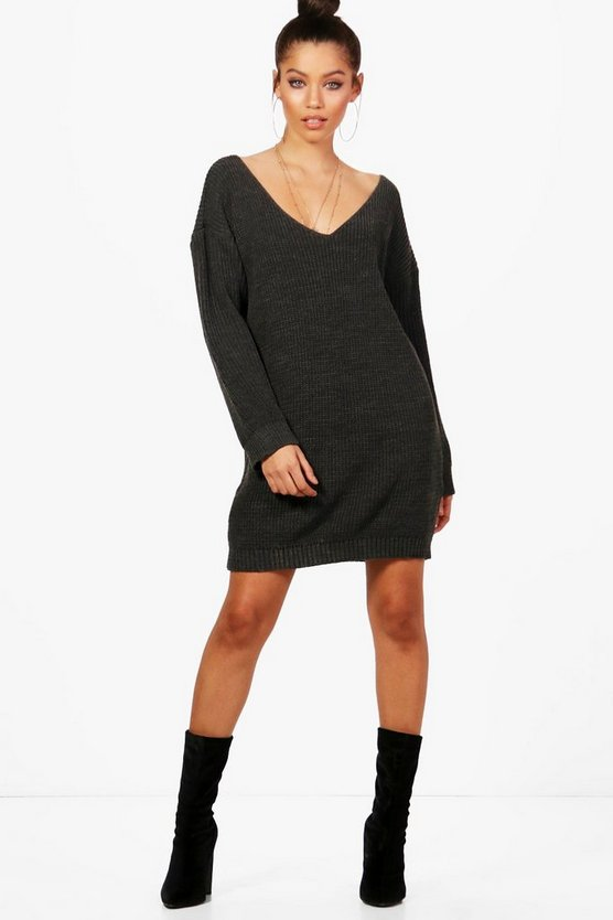 V Neck Jumper Mini Dress
