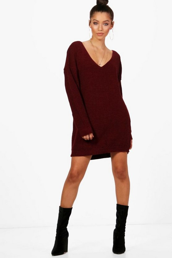 Womens V Neck Jumper Mini Dress