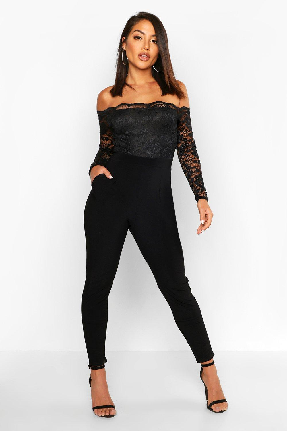 a46f3db1f7c3 Scallop Lace Off The Shoulder Jumpsuit. Hover to zoom