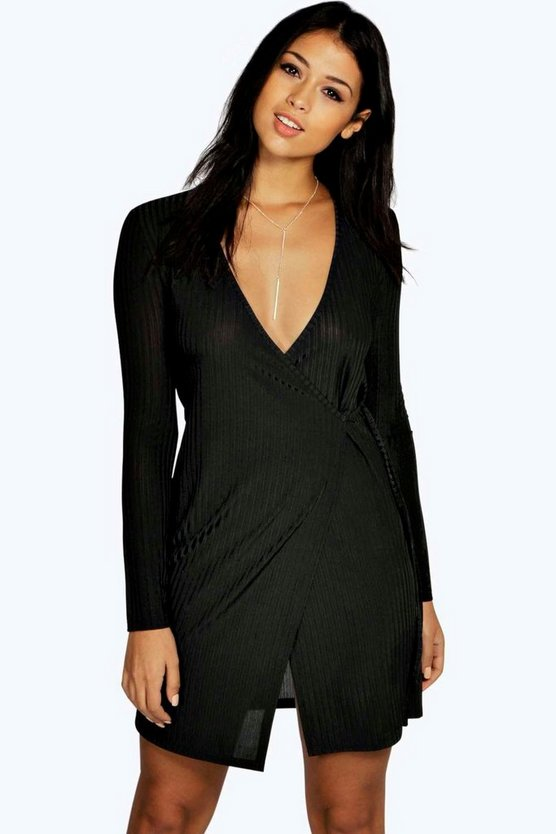Womens Black Cindy Ribbed Wrap Bodycon Dress