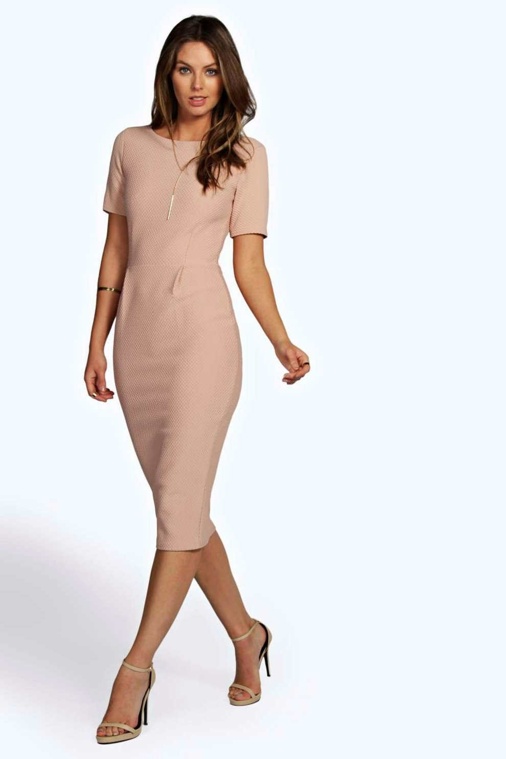 95fb59b906b Felicity Textured Formal Midi Dress | Boohoo