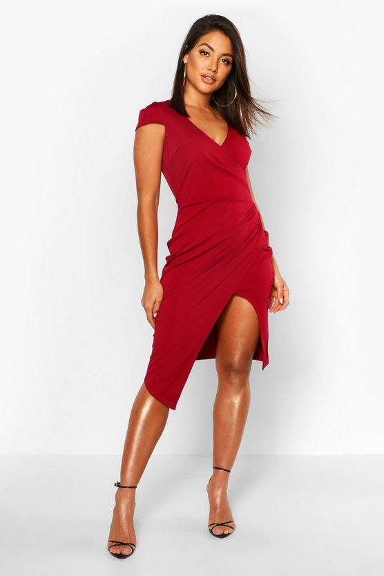 Womens Berry Cap Sleeve Wrap Midi Dress