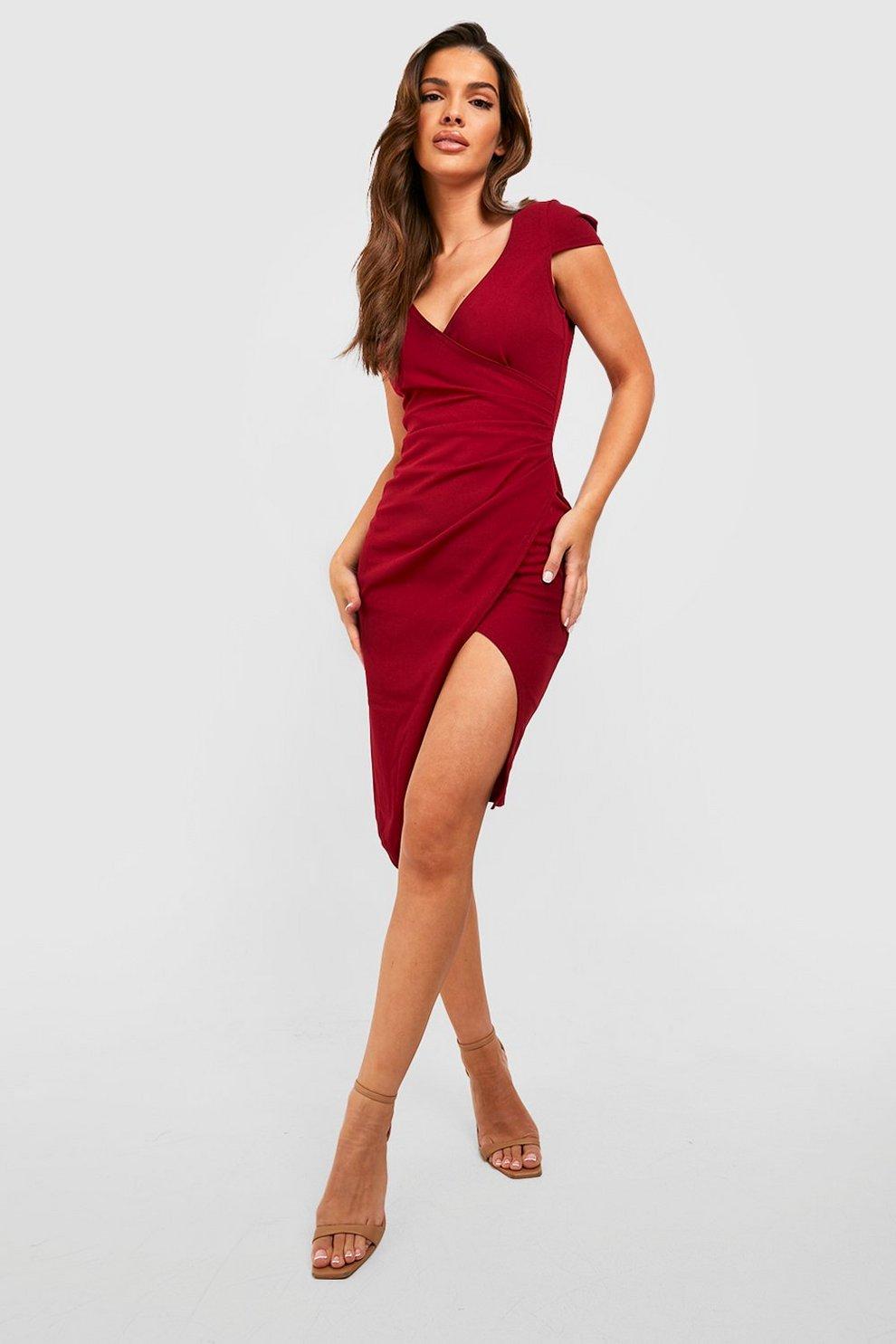 add795603e6 Womens Berry Cap Sleeve Wrap Midi Dress