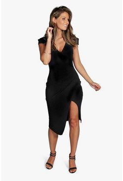 Womens Black Cap Sleeve Wrap Midi Dress