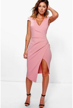 Blush Cap Sleeve Wrap Midi Dress