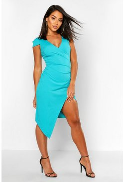 Jade Cap Sleeve Wrap Midi Dress