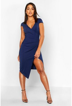 Navy Cap Sleeve Wrap Midi Dress
