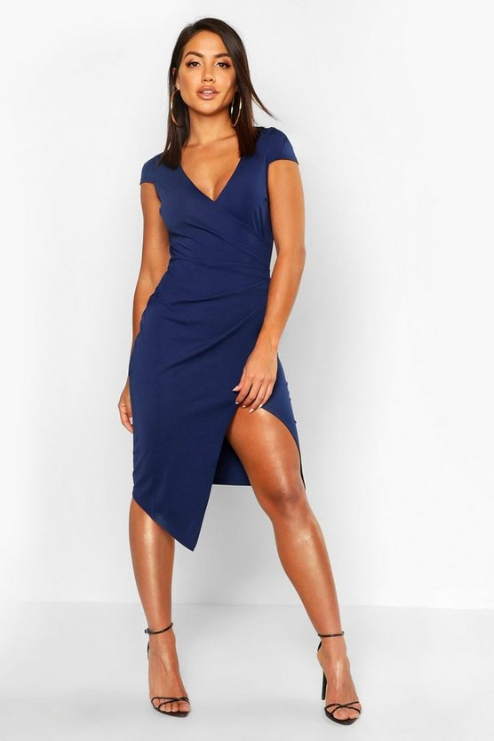 Womens Navy Cap Sleeve Wrap Midi Dress