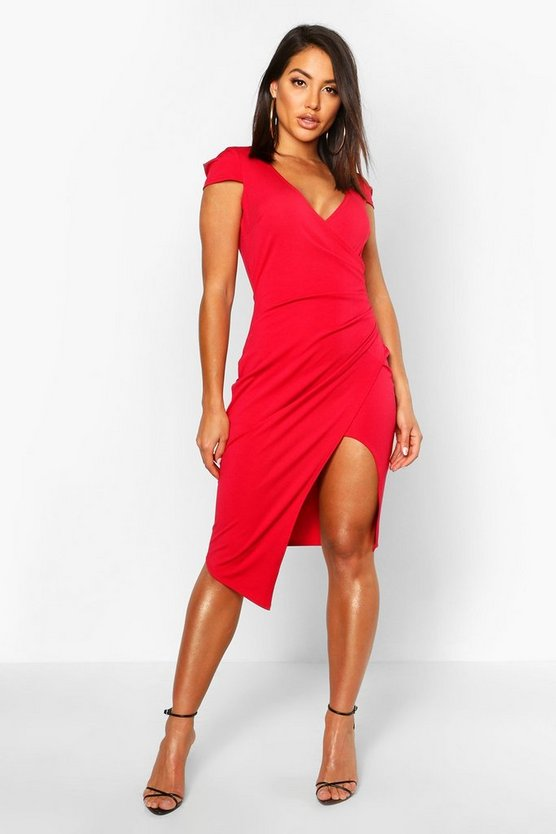 Womens Red Cap Sleeve Wrap Midi Dress