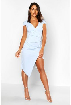 Sky Cap Sleeve Wrap Midi Dress