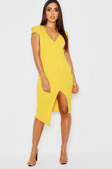 Womens Turmeric Cap Sleeve Wrap Midi Dress