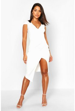 Womens White Cap Sleeve Wrap Midi Dress