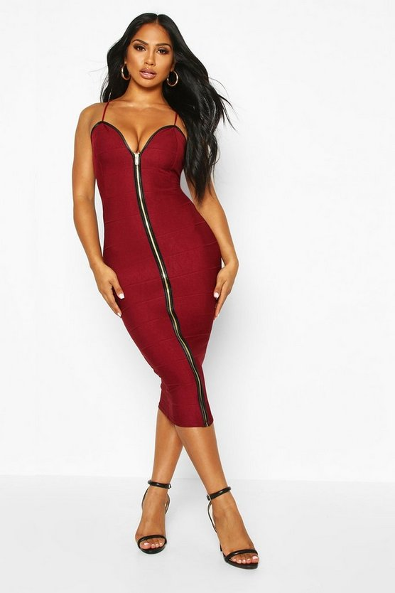 Bandage Zip Through Midi Bodycon Dress