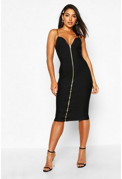 Womens Black Bandage Zip Through Midi Bodycon Dress