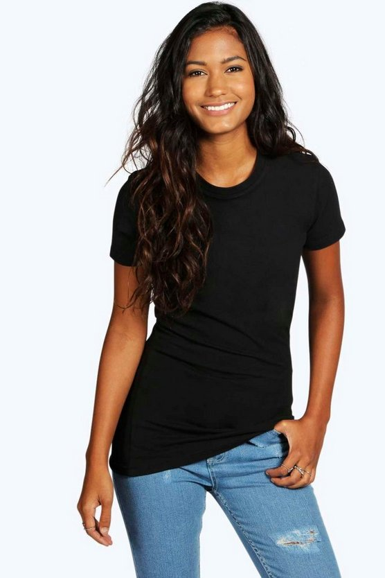 Womens Black Basic Crew Neck T-Shirt