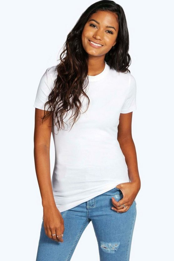 Womens White Basic Crew Neck T-Shirt