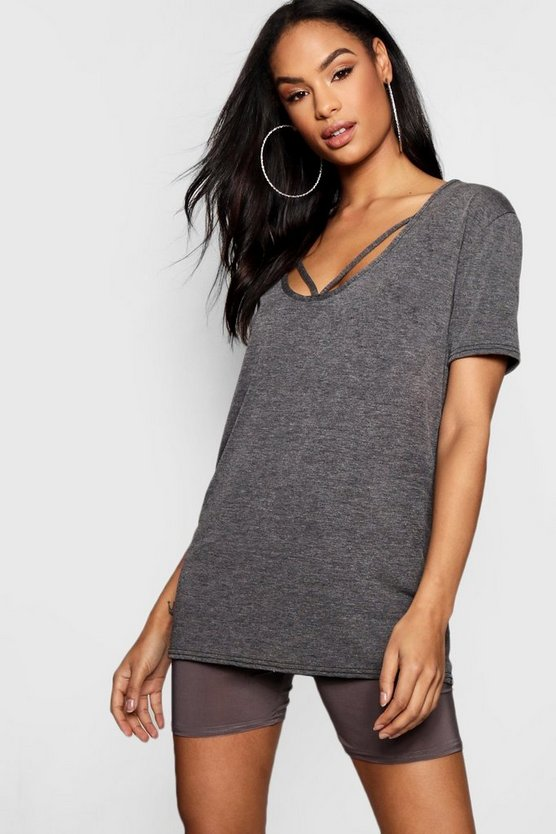 Womens Strappy Front Oversized T-Shirt