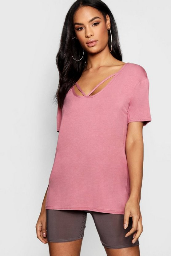 Womens Dusky pink Strappy Front Oversized T-Shirt