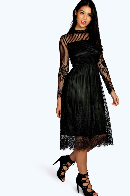 9103df107034 Lucia Lace High Neck Midi Dress | Boohoo