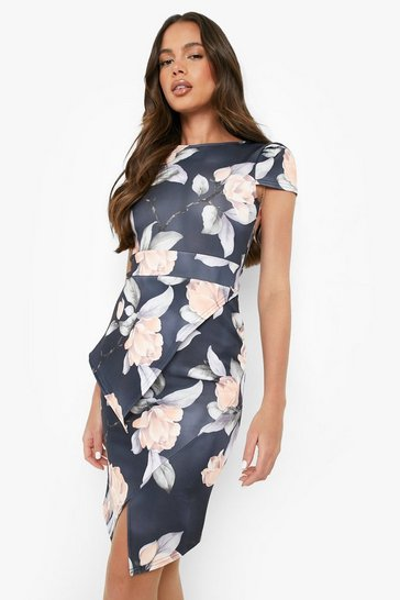 Womens Multi Asymmetric Peplum Floral Print Midi Dress