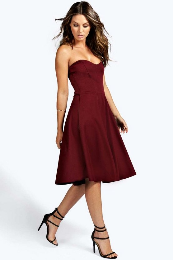 Bandeau Sweetheart Skater Dress