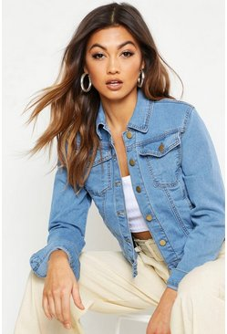 Veste coupe slim en denim, Bleu moyen